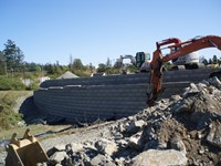 13,000 sq.ft. Lock + Load Retaining Wall for Arbutus Excavating Ltd. at Victoria General Hospital, Victoria, BC.